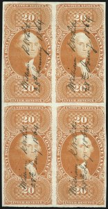 Sale Number 1100, Lot Number 166, Revenues (R95a thru RB6a)$20.00 Conveyance, Imperforate (R98a), $20.00 Conveyance, Imperforate (R98a)