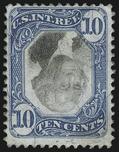Sale Number 1100, Lot Number 184, Revenues (R95a thru RB6a)10c Blue & Black, Second Issue, Center Inverted (R109a), 10c Blue & Black, Second Issue, Center Inverted (R109a)
