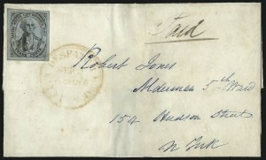 Sale Number 1101, Lot Number 504, 1842-45 City Despatch Post, New York, N.Y.U.S. City Despatch Post, New York N.Y., 3c Black on Light Blue Unsurfaced (6LB3), U.S. City Despatch Post, New York N.Y., 3c Black on Light Blue Unsurfaced (6LB3)