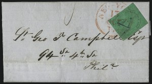 Sale Number 1101, Lot Number 509, 1842-45 City Despatch Post, New York, N.Y.(Cummings & Wright) Post Office City Despatch, New York N.Y., 2c Black on Green Glazed (40L2), (Cummings & Wright) Post Office City Despatch, New York N.Y., 2c Black on Green Glazed (40L2)