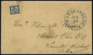 Sale Number 1101, Lot Number 548, Carrier Departments: CharlestonHonour's City Post, Charleston S.C., 2c Black on Bluish (4LB8), Honour's City Post, Charleston S.C., 2c Black on Bluish (4LB8)