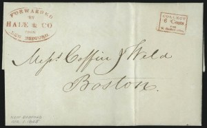 Sale Number 1101, Lot Number 582, Independent Mails: Hale & Co.Forwarded by Hale & Co. from New Bedford, Forwarded by Hale & Co. from New Bedford