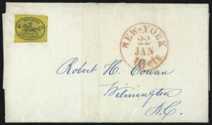 Sale Number 1101, Lot Number 759, Local Posts: T.A. Hampton thru Jenkins` Camden DispatchHanford's Pony Express, New York N.Y., 2c Black on Orange Yellow (78L1), Hanford's Pony Express, New York N.Y., 2c Black on Orange Yellow (78L1)