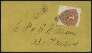 Sale Number 1101, Lot Number 778, Local Posts: Jones City Express thru Jays DispatchMetropolitan Errand and Carrier Express Co., New York N.Y., 1c Red Orange (107L1), Metropolitan Errand and Carrier Express Co., New York N.Y., 1c Red Orange (107L1)