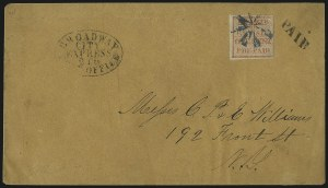 "Sale Number 1101, Lot Number 809, Local Posts: Swarts City Dispatch thru Union Square Post OfficeSwarts' City Despatch Post, New York N.Y., 1c Red, ""For the U.S. Mail"" (136L15), Swarts' City Despatch Post, New York N.Y., 1c Red, ""For the U.S. Mail"" (136L15)"