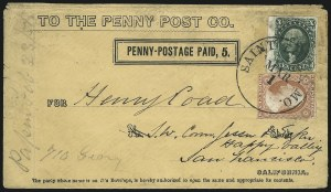 Sale Number 1103, Lot Number 1517, California Penny PostCalifornia Penny Post Co., San Francisco, 5c Black on Buff entire (34LU9; Frajola Type 3A), California Penny Post Co., San Francisco, 5c Black on Buff entire (34LU9; Frajola Type 3A)