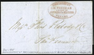 Sale Number 1103, Lot Number 1607, Western Expresses: Everts thru FreemanForwarded by J. M. Freeman, Agent of Adams & Co's Express, Panama, Forwarded by J. M. Freeman, Agent of Adams & Co's Express, Panama
