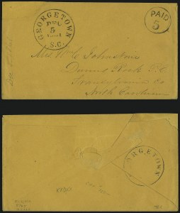 Sale Number 1104, Lot Number 2123, Postmasters Provisionals: Gainsville Ala. Thru Jonesboro Tenn.Georgetown S.C., 5c Black entire (28XU1), Georgetown S.C., 5c Black entire (28XU1)