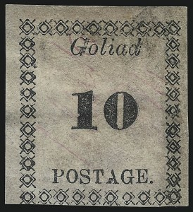 Sale Number 1104, Lot Number 2124, Postmasters Provisionals: Gainsville Ala. Thru Jonesboro Tenn.Goliad Tex., 10c Black on Rose (29X5), Goliad Tex., 10c Black on Rose (29X5)