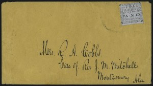 Sale Number 1104, Lot Number 2292, Postmasters Provisionals: Richmond Tex. Thru Winnsborough S.C.Uniontown Ala., 5c Green on Gray Blue (86X3), Uniontown Ala., 5c Green on Gray Blue (86X3)