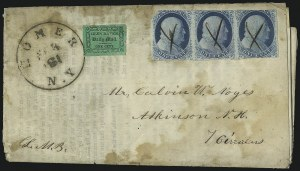 Sale Number 1105, Lot Number 2544, 1851 Franklin Carrier Issue and Locals1c Blue, Ty. II (7), 1c Blue, Ty. II (7)
