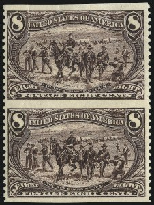 Sale Number 1106, Lot Number 3139, 1894-98 Issue thru Pan-American Issue8c Trans-Mississippi, Vertical Pair, Imperforate Horizontally (289a), 8c Trans-Mississippi, Vertical Pair, Imperforate Horizontally (289a)