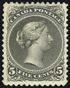 Sale Number 1106, Lot Number 3188, Worldwide (Belgium to Great Britain)CANADA, 1875, 5c Olive Green, Perf 11-1/2 x 12 (26; SG 63), CANADA, 1875, 5c Olive Green, Perf 11-1/2 x 12 (26; SG 63)