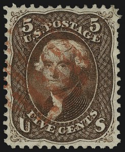Sale Number 1107, Lot Number 135, 1861-66 Issue (Scott 56-78)5c Red Brown (75), 5c Red Brown (75)