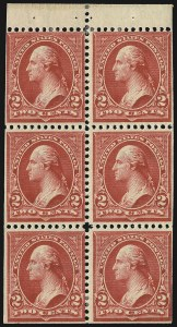 Sale Number 1107, Lot Number 375, 1894-98 Bureau Issues (Scott 246-283)2c Red, Ty. IV, Booklet Pane of Six, Horizontal Wmk. (279Bj), 2c Red, Ty. IV, Booklet Pane of Six, Horizontal Wmk. (279Bj)