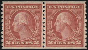 Sale Number 1107, Lot Number 476, 1912-15 Washington-Franklin Issue (Scott 405-491)2c Red, Ty. II, Coil (454), 2c Red, Ty. II, Coil (454)
