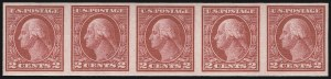 Sale Number 1107, Lot Number 479, 1912-15 Washington-Franklin Issue (Scott 405-491)2c Carmine, Ty. I, Imperforate Coil (459), 2c Carmine, Ty. I, Imperforate Coil (459)