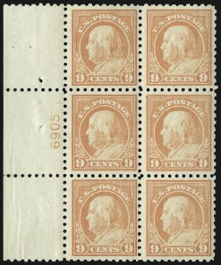 Sale Number 1107, Lot Number 483, 1912-15 Washington-Franklin Issue (Scott 405-491)9c Salmon Red (471), 9c Salmon Red (471)