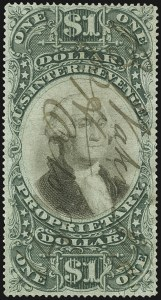 Sale Number 1107, Lot Number 662, Revenues, Hunting Permits$1.00 Green & Black on Violet Paper, Proprietary (RB9a), $1.00 Green & Black on Violet Paper, Proprietary (RB9a)