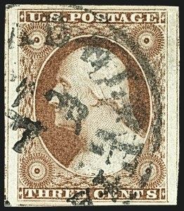 Sale Number 1108, Lot Number 10, 1851-56 Issue (Scott 6-17)3c Brownish Carmine, Ty. I (11), 3c Brownish Carmine, Ty. I (11)