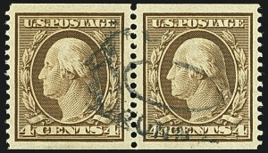 Sale Number 1108, Lot Number 147, 1908-10 Issues (Scott 333-404)4c Orange Brown, Coil (354), 4c Orange Brown, Coil (354)