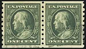 Sale Number 1108, Lot Number 155, 1908-10 Issues (Scott 333-404)1c Green, Coil (392), 1c Green, Coil (392)