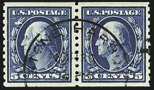 Sale Number 1108, Lot Number 166, 1912-22 Issues (Scott 412-480)5c Blue, Coil (447), 5c Blue, Coil (447)