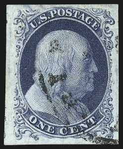 Sale Number 1108, Lot Number 4, 1851-56 Issue (Scott 6-17)1c Blue, Ty. Ia (6), 1c Blue, Ty. Ia (6)