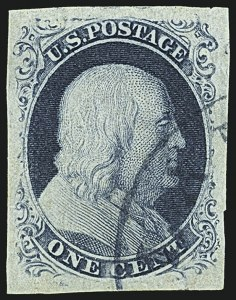 Sale Number 1108, Lot Number 5, 1851-56 Issue (Scott 6-17)1c Blue, Ty. III (8), 1c Blue, Ty. III (8)