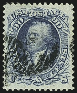 Sale Number 1108, Lot Number 51, 1861-66 Issue (Scott 63-78a)90c Blue (72), 90c Blue (72)