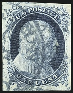 Sale Number 1108, Lot Number 6, 1851-56 Issue (Scott 6-17)1c Blue, Ty. II (7), 1c Blue, Ty. II (7)