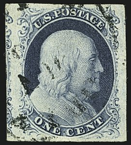 Sale Number 1108, Lot Number 7, 1851-56 Issue (Scott 6-17)1c Blue, Ty. IIIa (8A), 1c Blue, Ty. IIIa (8A)