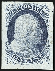 Sale Number 1108, Lot Number 8, 1851-56 Issue (Scott 6-17)1c Blue, Ty. IV (9), 1c Blue, Ty. IV (9)