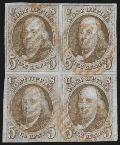 Sale Number 1109, Lot Number 314, 5c 1847 Issue, Off-Cover (Scott 1)5c Red Brown (1), 5c Red Brown (1)