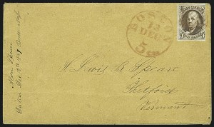 Sale Number 1109, Lot Number 348, 5c 1847 Issue, On-Cover (Scott 1)5c Red Brown, Double Transfer Ty. B (1-B), 5c Red Brown, Double Transfer Ty. B (1-B)