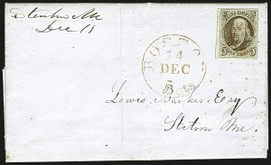 Sale Number 1109, Lot Number 349, 5c 1847 Issue, On-Cover (Scott 1)5c Red Brown, Double Transfer Ty. B (1-B), 5c Red Brown, Double Transfer Ty. B (1-B)