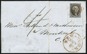 Sale Number 1109, Lot Number 374, 10c 1847 Issue, On-Cover (Scott 2)10c Black, Double Transfer Ty. C (2-C), 10c Black, Double Transfer Ty. C (2-C)