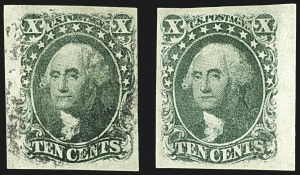 Sale Number 1109, Lot Number 427, 5c-10c 1851-56 Issue, Off-Cover (Scott 12-16)10c Green, Ty. II, III (14-15), 10c Green, Ty. II, III (14-15)