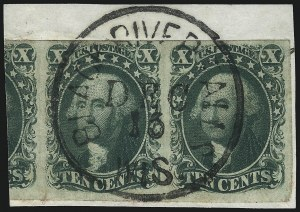 Sale Number 1109, Lot Number 429, 5c-10c 1851-56 Issue, Off-Cover (Scott 12-16)10c Green, Ty. III (15), 10c Green, Ty. III (15)