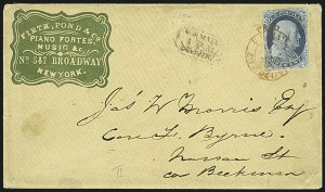 Sale Number 1109, Lot Number 441, 1c 1851-56 Issue, On-Cover (Scott 7-9)1c Blue, Ty. II (7), 1c Blue, Ty. II (7)
