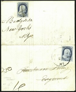 Sale Number 1109, Lot Number 444, 1c 1851-56 Issue, On-Cover (Scott 7-9)1c Blue, Ty. II (7), 1c Blue, Ty. II (7)