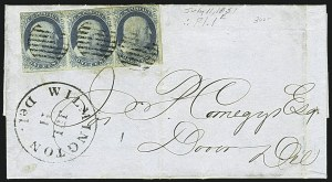 Sale Number 1109, Lot Number 445, 1c 1851-56 Issue, On-Cover (Scott 7-9)1c Blue, Ty. II (7), 1c Blue, Ty. II (7)