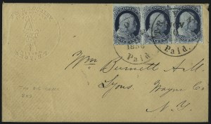 Sale Number 1109, Lot Number 446, 1c 1851-56 Issue, On-Cover (Scott 7-9)1c Blue, Ty. II, Cracked Plate (7 var), 1c Blue, Ty. II, Cracked Plate (7 var)