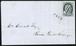 Sale Number 1109, Lot Number 447, 1c 1851-56 Issue, On-Cover (Scott 7-9)1c Blue, Ty. IIIa (8A), 1c Blue, Ty. IIIa (8A)
