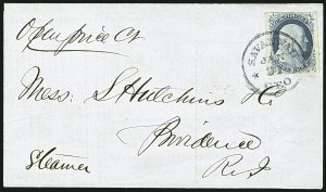 Sale Number 1109, Lot Number 448, 1c 1851-56 Issue, On-Cover (Scott 7-9)1c Blue, Ty. IV (9), 1c Blue, Ty. IV (9)