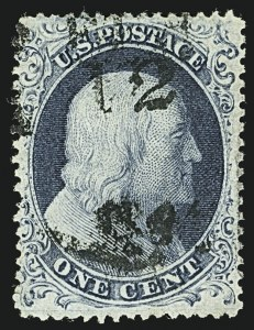 Sale Number 1109, Lot Number 485, 1c-5c 1857-60 Issue, Off-Cover (Scott 19-30A)1c Blue, Ty. IIIa (22), 1c Blue, Ty. IIIa (22)