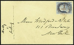 Sale Number 1109, Lot Number 514, 1c-3c 1857-60 Issue, On-Cover (Scott 18-26)1c Blue, Ty. I (18), 1c Blue, Ty. I (18)