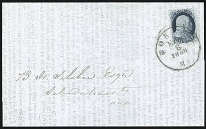 Sale Number 1109, Lot Number 517, 1c-3c 1857-60 Issue, On-Cover (Scott 18-26)1c Blue, Ty. V (24), 1c Blue, Ty. V (24)