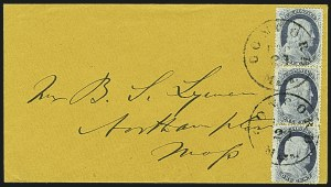 Sale Number 1109, Lot Number 518, 1c-3c 1857-60 Issue, On-Cover (Scott 18-26)1c Blue, Ty. V (24), 1c Blue, Ty. V (24)