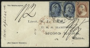 Sale Number 1109, Lot Number 521, 1c-3c 1857-60 Issue, On-Cover (Scott 18-26)1c Blue, Ty. V (24), 1c Blue, Ty. V (24)